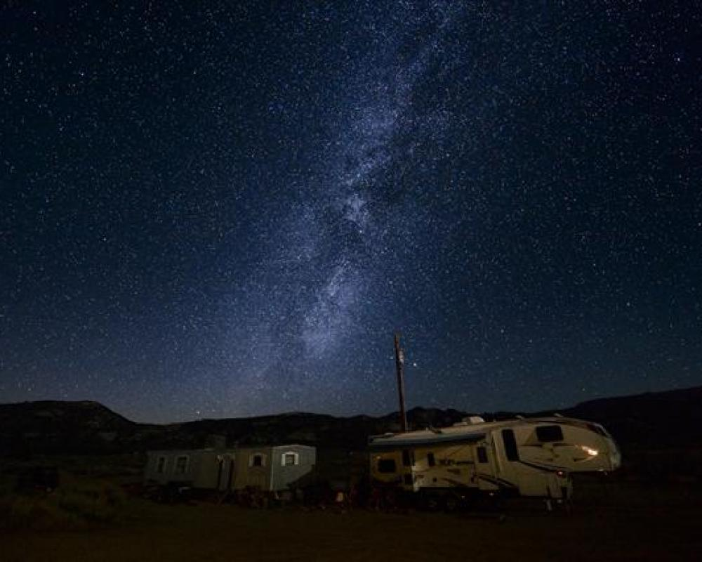 Our dinosaur camp and the Milky Way